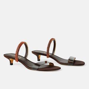 Zara Vinyl Beaded Kitten Heel Sandals